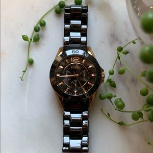 Fossil Ceramic Black and Rose Gold Watch